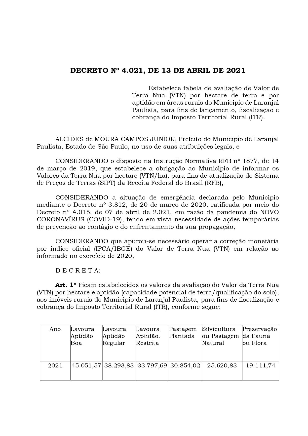 INFORMATIVO DA SECRETARIA DE AGRICULTURA, ABASTECIMENTO E MEIO AMBIENTE - ITR 2021
