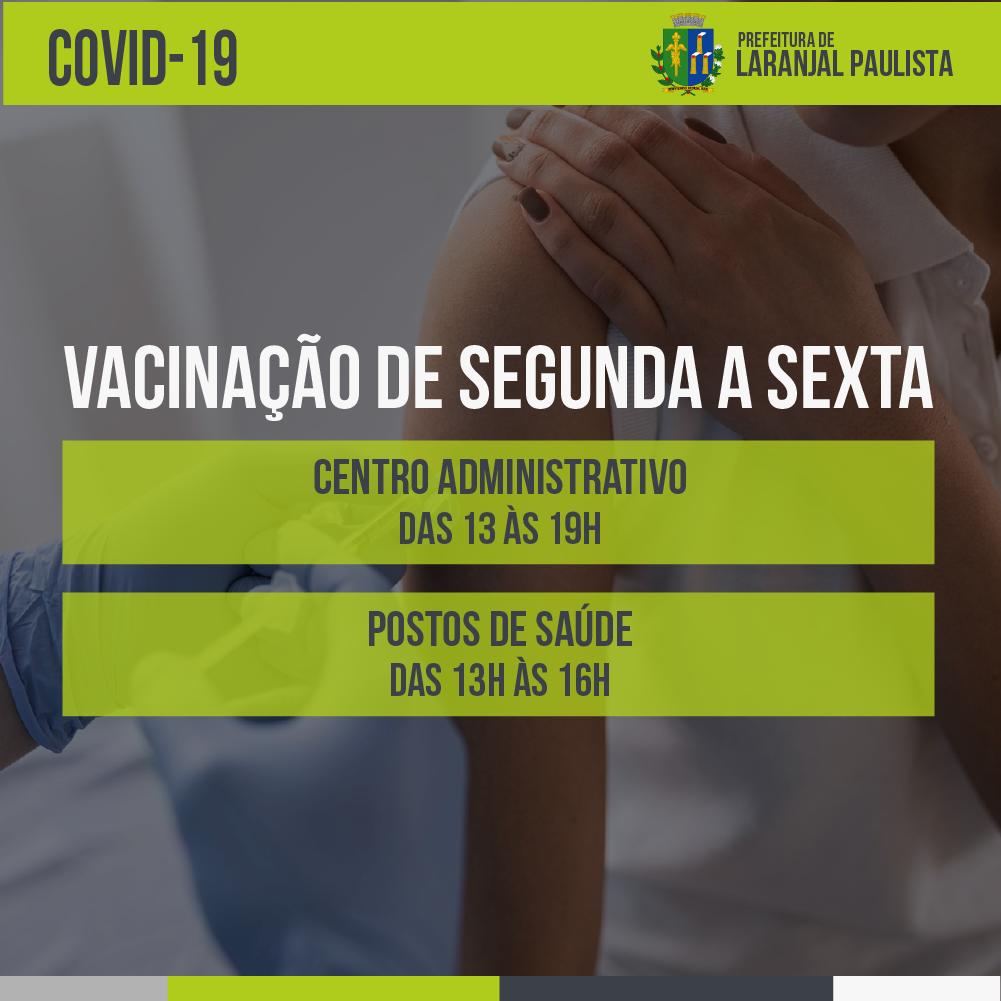 Novos horários de vacinação contra a COVID-19